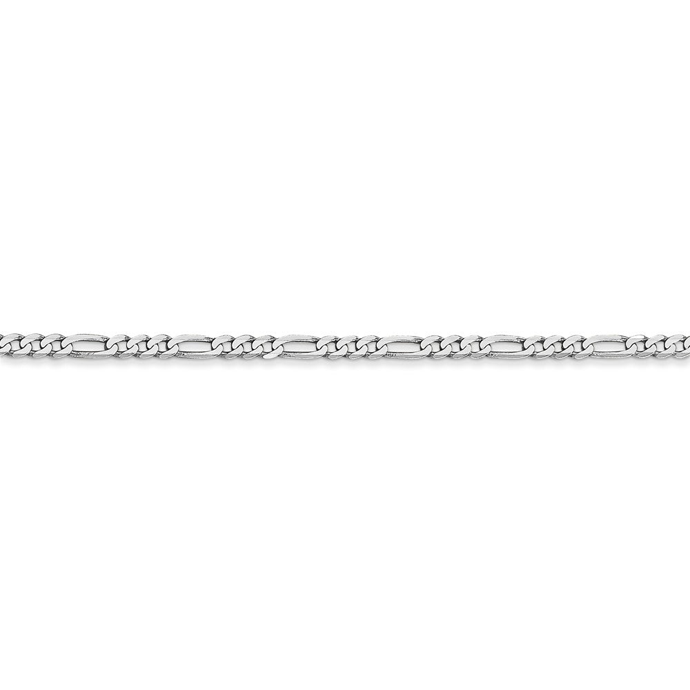 Alternate view of the 14k White Gold 2.25mm Flat Figaro Chain Anklet by The Black Bow Jewelry Co.