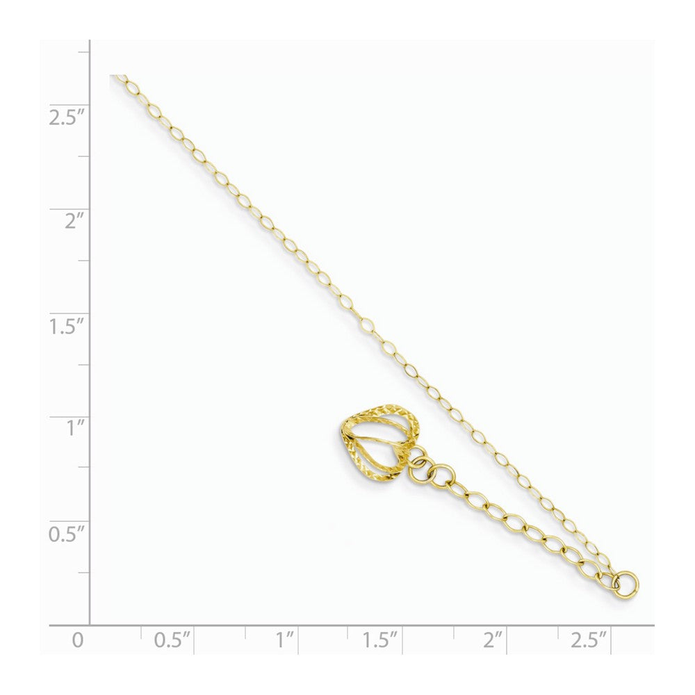 Alternate view of the 14k Yellow Gold Oval Link Anklet with Open Heart Cage Charm, 9-10 Inch by The Black Bow Jewelry Co.