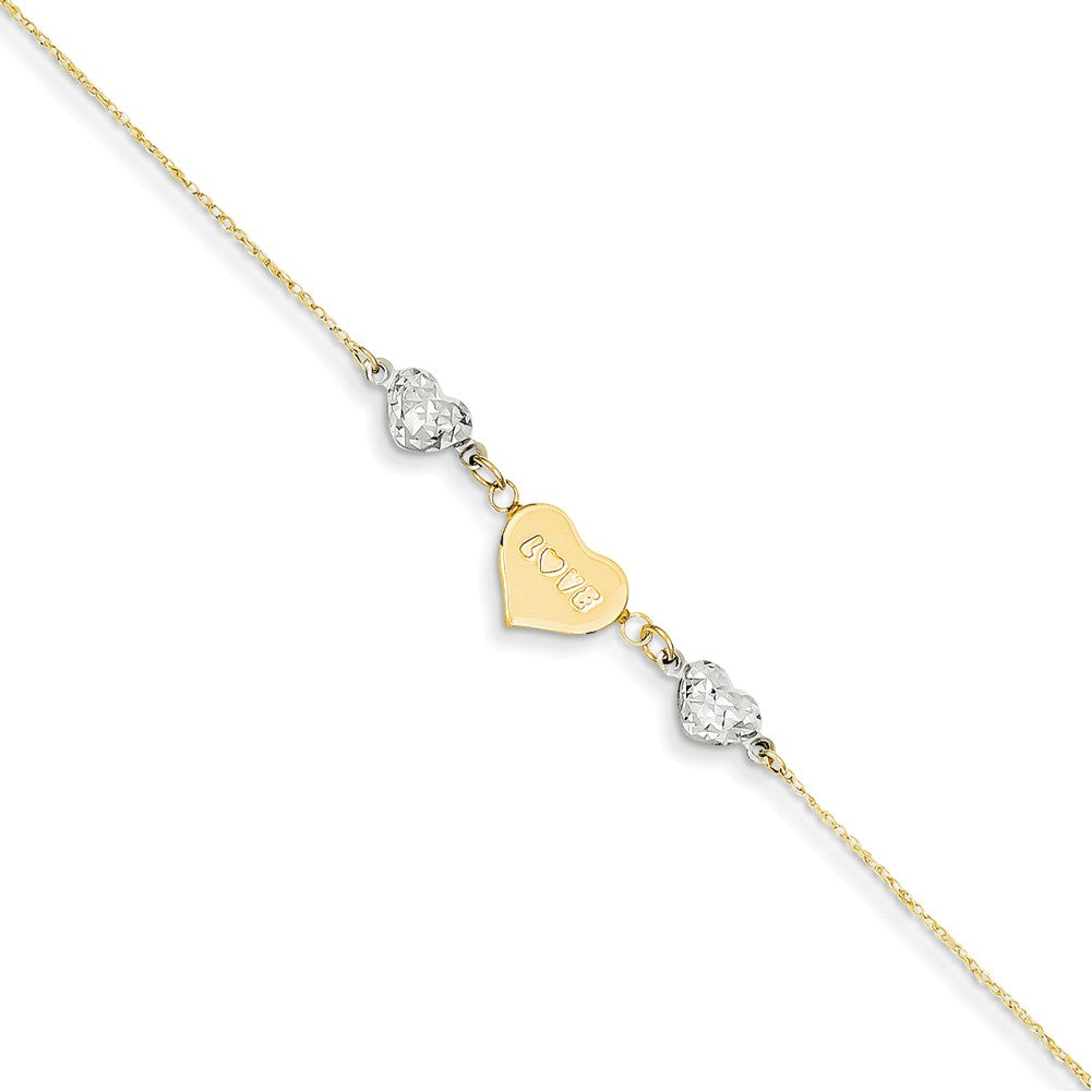 14k Two-Tone Gold Diamond-Cut Puffed and Love Heart Anklet, 9 Inch, Item A8508 by The Black Bow Jewelry Co.