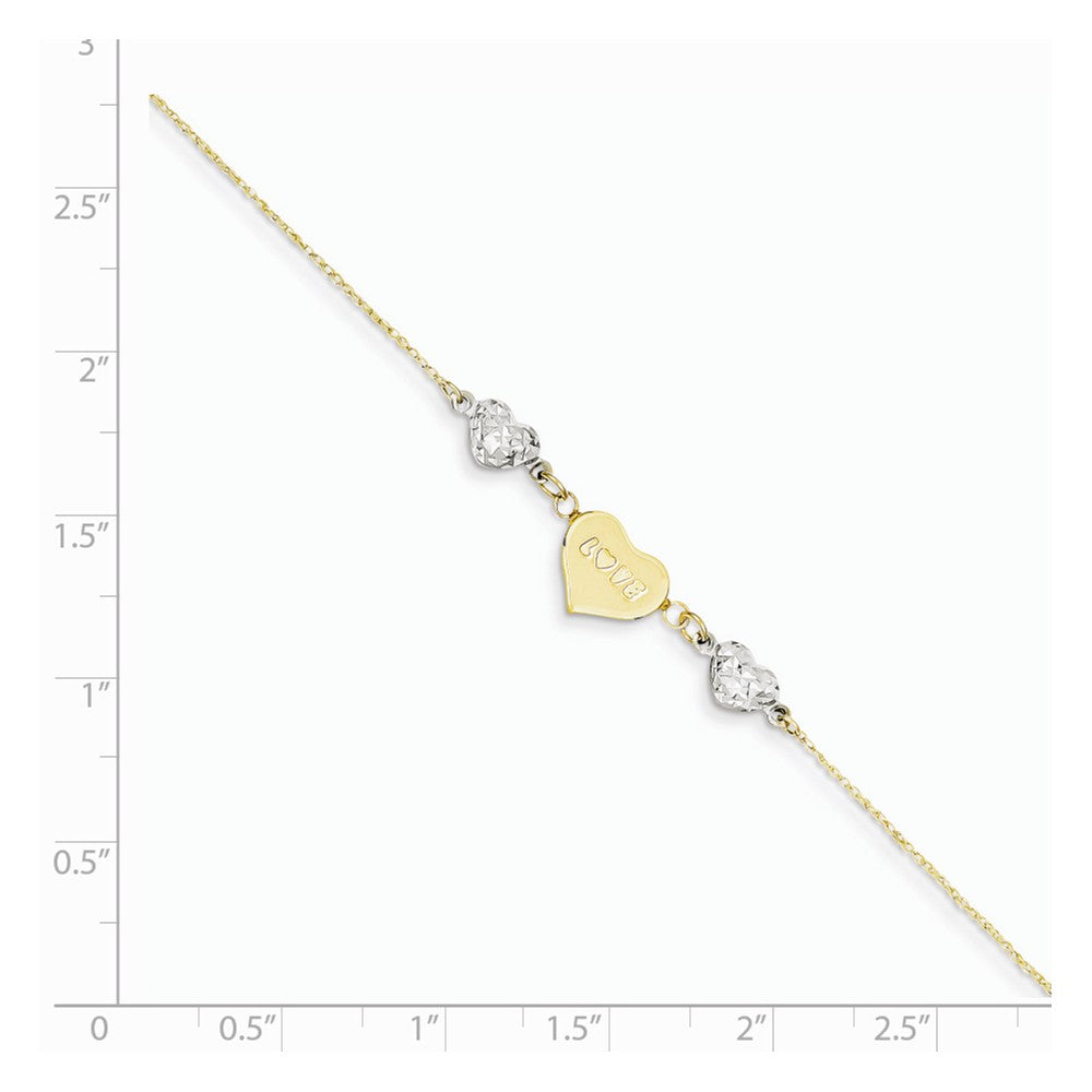 Alternate view of the 14k Two-Tone Gold Diamond-Cut Puffed and Love Heart Anklet, 9 Inch by The Black Bow Jewelry Co.