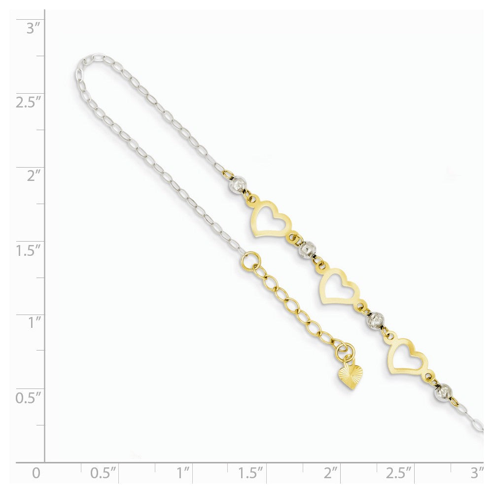 Alternate view of the 14k Two-Tone Gold Triple Heart and Bead Adjustable Anklet, 9 Inch by The Black Bow Jewelry Co.