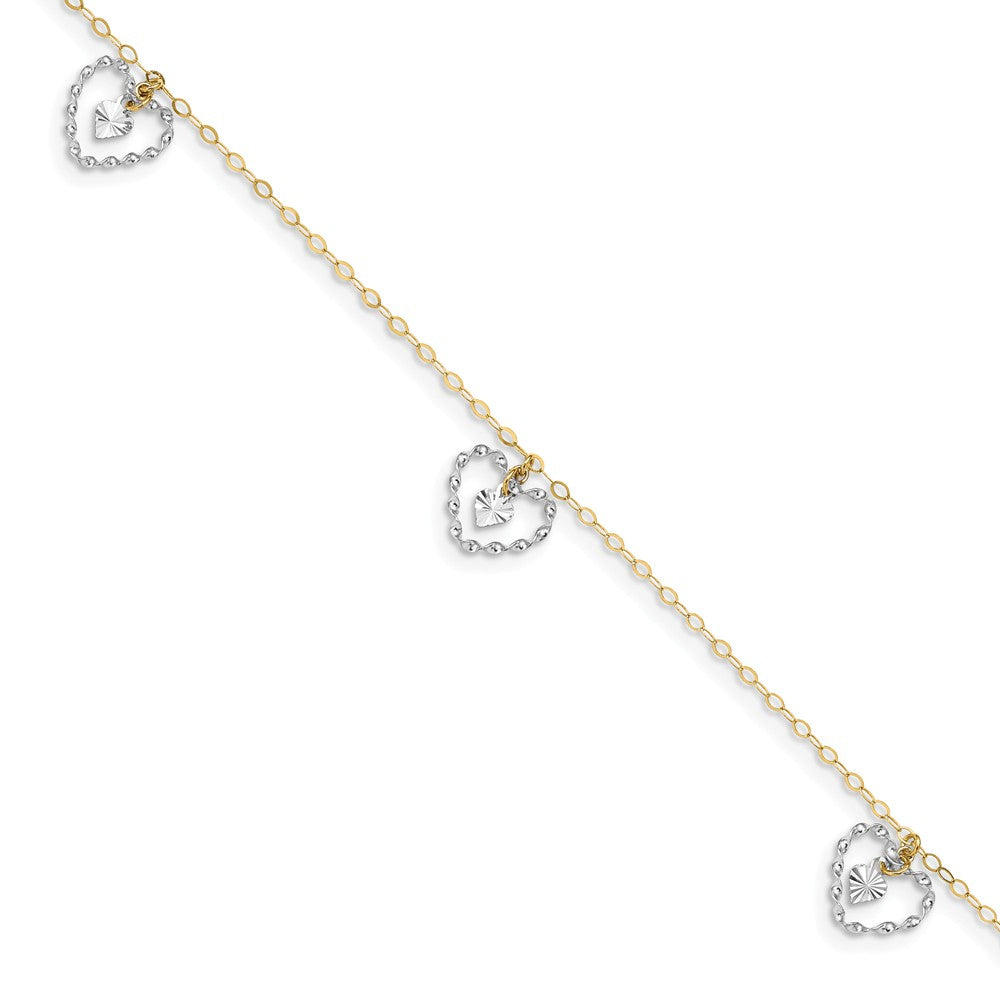 14k Two-Tone Gold Dangling Double Heart Adjustable Anklet, 9 Inch, Item A8510 by The Black Bow Jewelry Co.
