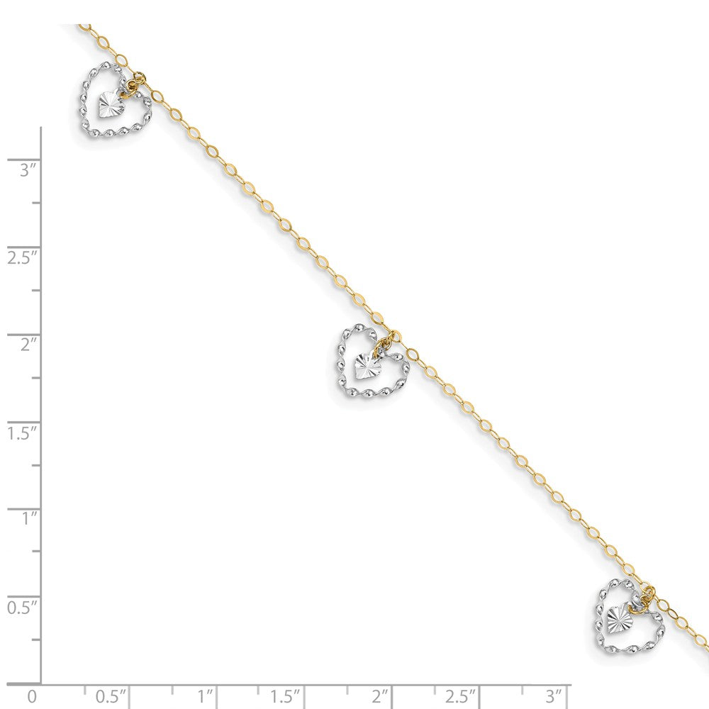 Alternate view of the 14k Two-Tone Gold Dangling Double Heart Adjustable Anklet, 9 Inch by The Black Bow Jewelry Co.