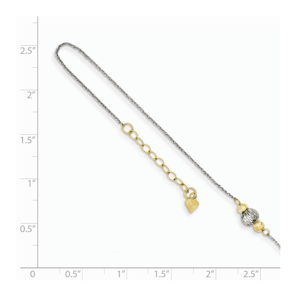 Alternate view of the 14k Two-Tone Gold Ropa with Diamond-cut Beads Anklet, 9-10 Inch by The Black Bow Jewelry Co.