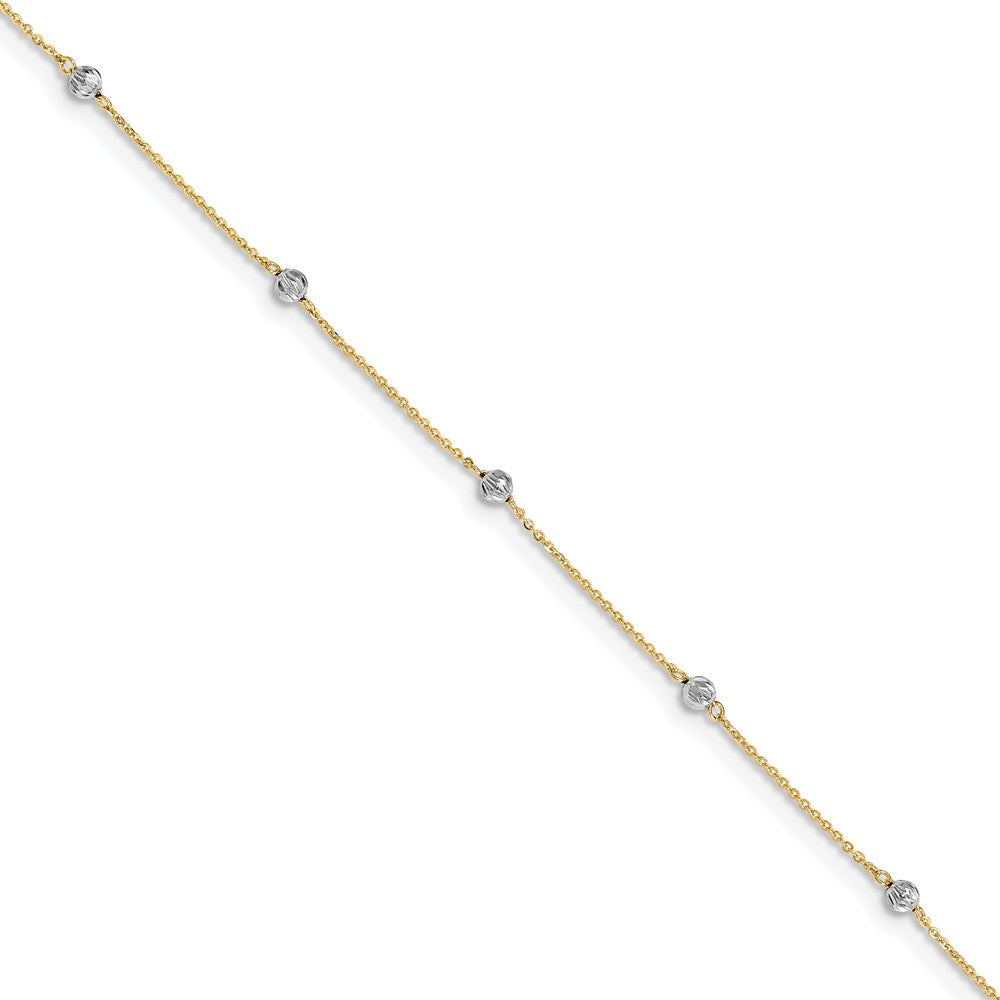 14k Two-Tone Gold Diamond-Cut Beaded Adjustable Anklet, 9-10 Inch, Item A8512 by The Black Bow Jewelry Co.