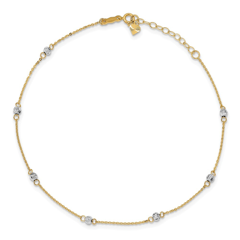 Alternate view of the 14k Two-Tone Gold Diamond-Cut Beaded Adjustable Anklet, 9-10 Inch by The Black Bow Jewelry Co.