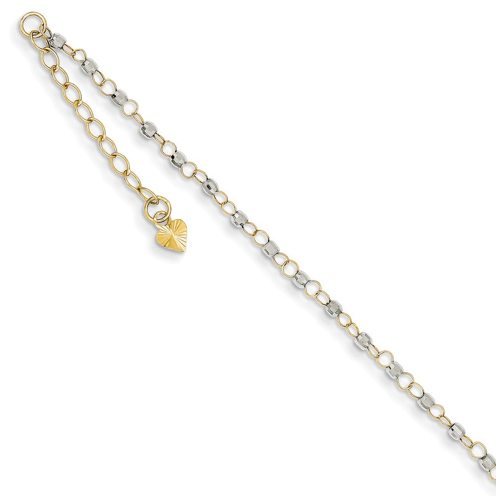 14k Two-Tone Gold Circle and Bead Chain Adjustable Anklet, 9 Inch, Item A8513 by The Black Bow Jewelry Co.