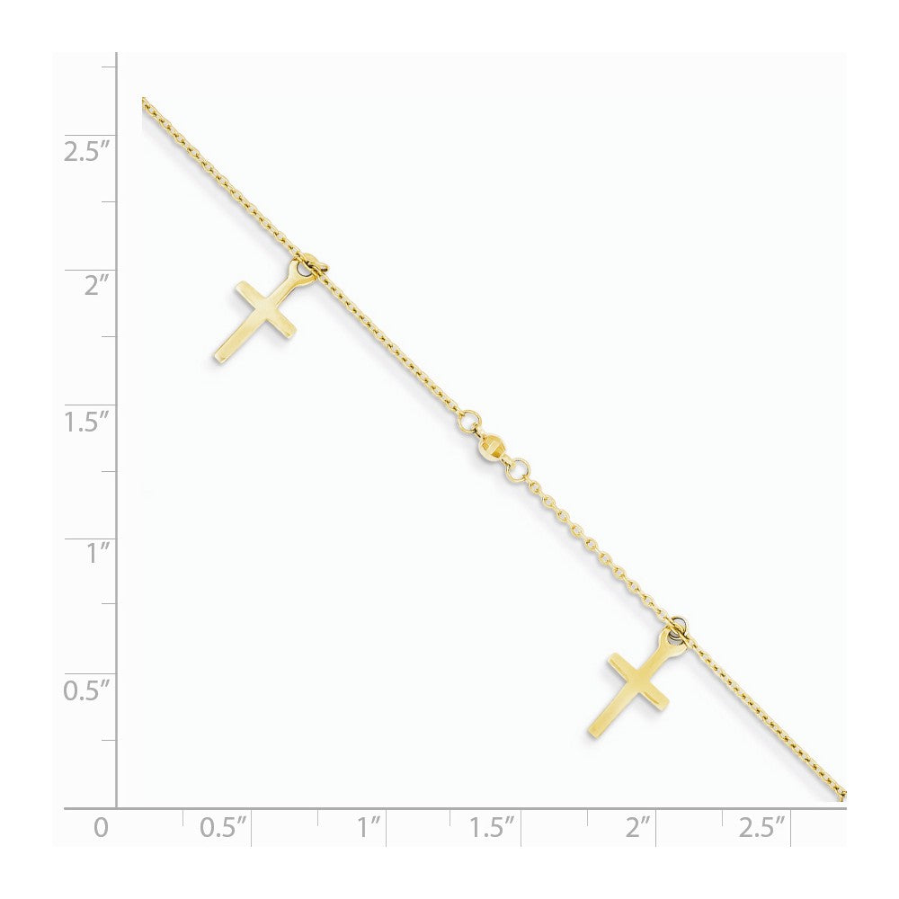 Alternate view of the 14k Yellow Gold Polished and Textured Latin Cross Anklet, 9-10 Inch by The Black Bow Jewelry Co.