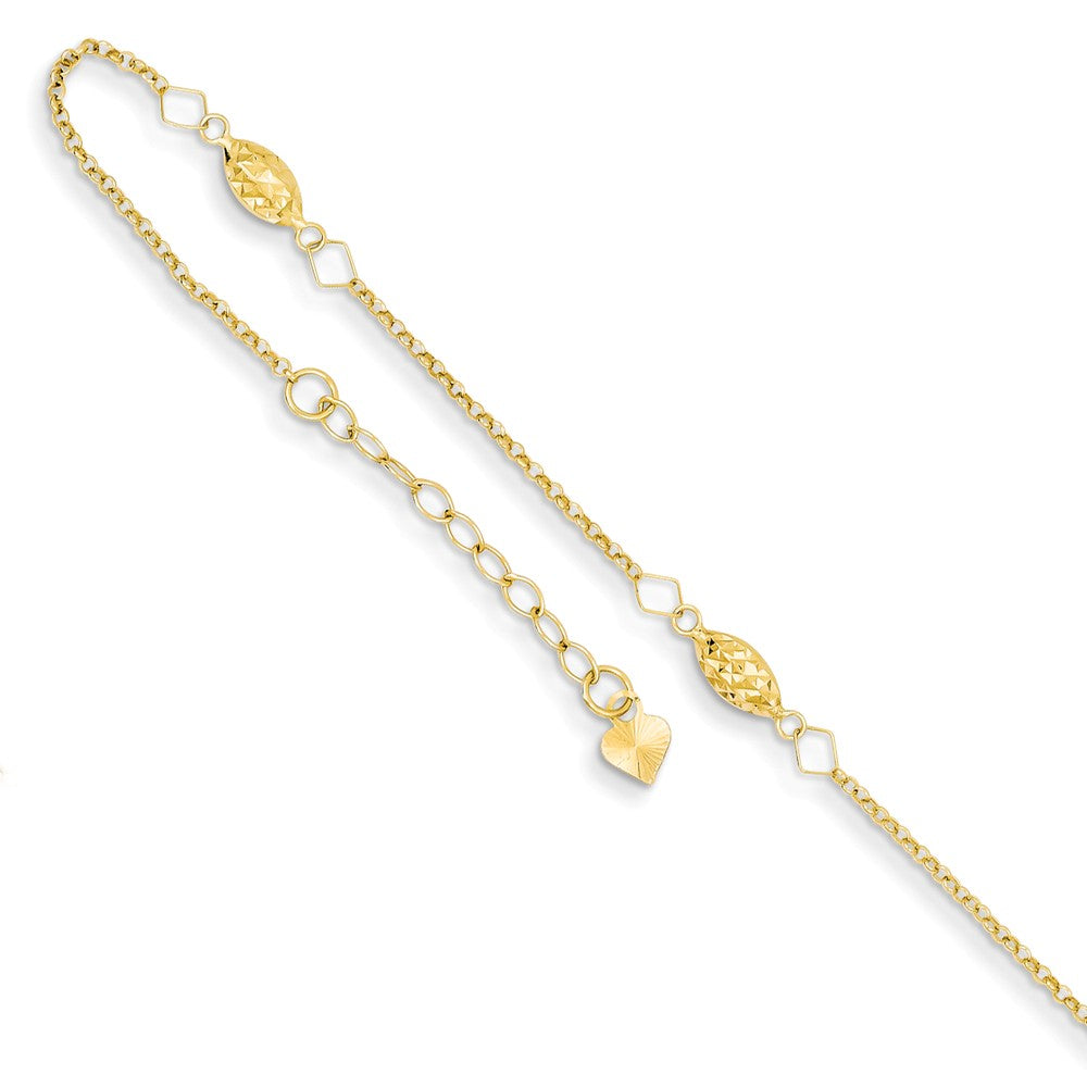 14k Yellow Gold Diamond-Cut Puffed Rice Beads Anklet, 9-10 Inch, Item A8521 by The Black Bow Jewelry Co.