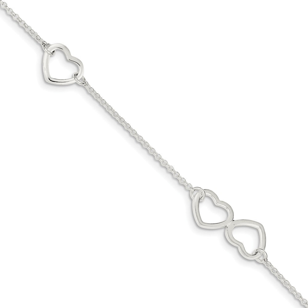 Sterling Silver 1.5mm Cable And Open Hearts Adjustable Anklet, 9 Inch, Item A8525 by The Black Bow Jewelry Co.