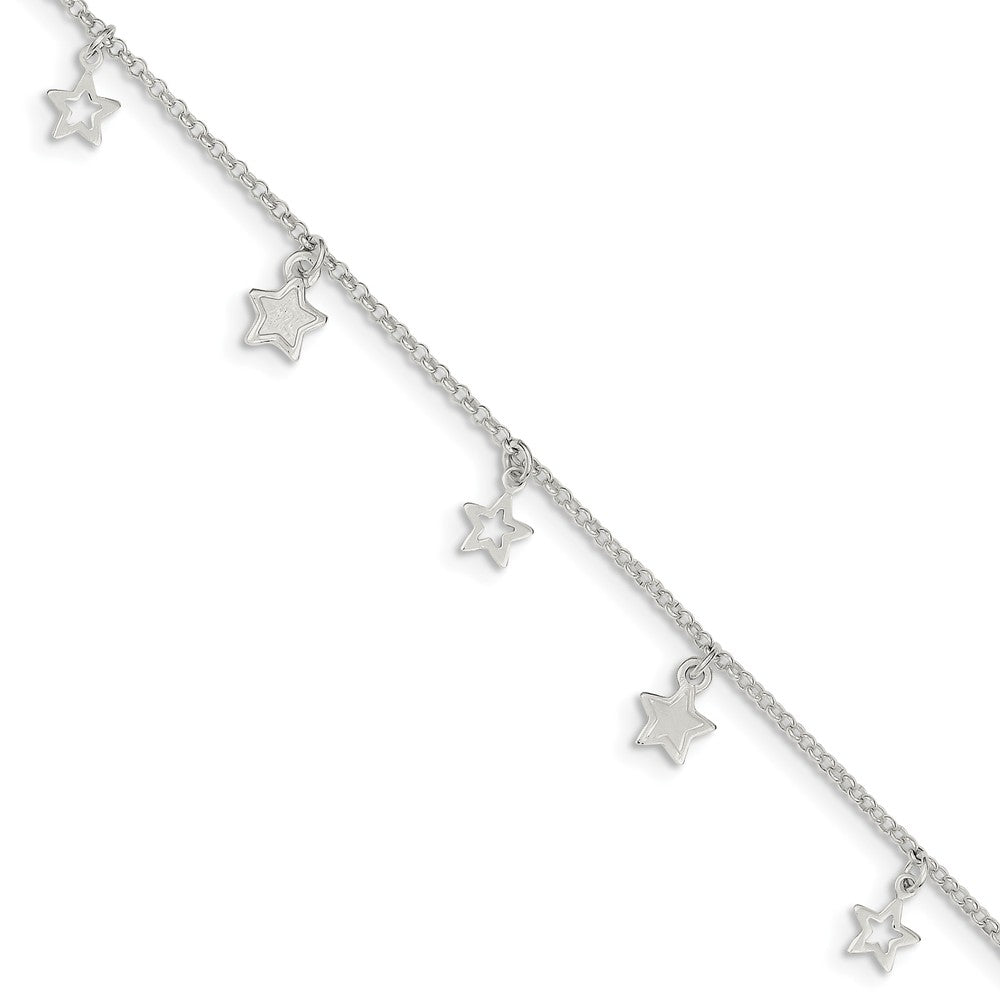Sterling Silver 1.5mm Cable and Dangling Stars Anklet, 9-10 Inch, Item A8526 by The Black Bow Jewelry Co.