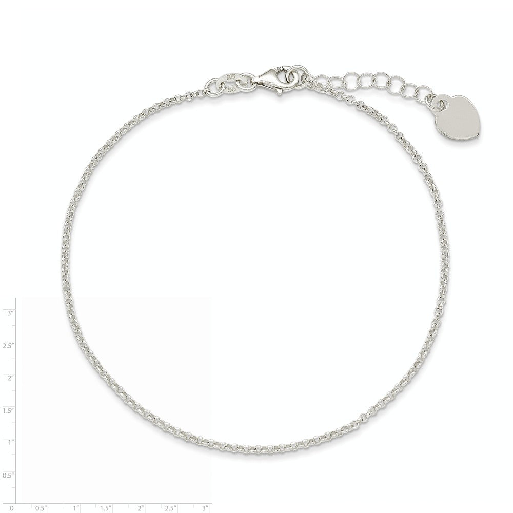 Alternate view of the Sterling Silver 1.5mm Cable Chain And Polished Heart Anklet, 9-10 Inch by The Black Bow Jewelry Co.