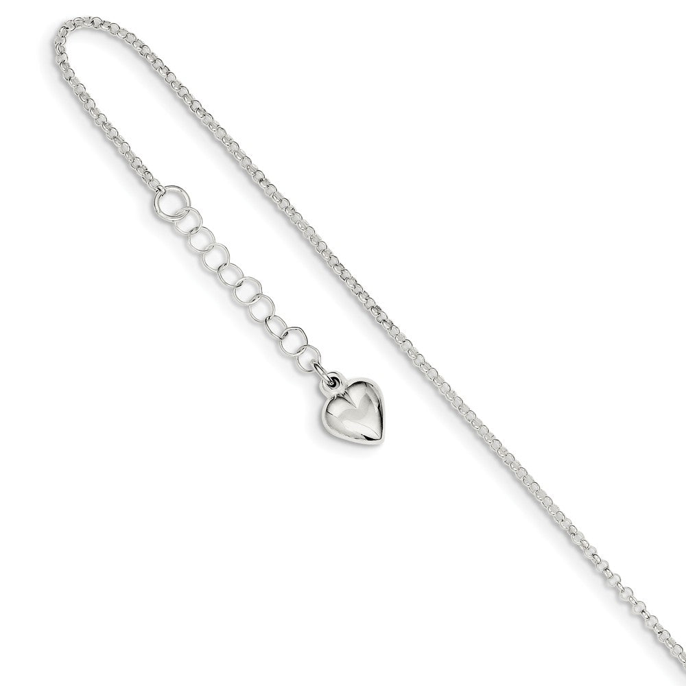 Sterling Silver 1.5mm Cable Chain And Puffed Heart Anklet, 9-10 Inch, Item A8529 by The Black Bow Jewelry Co.