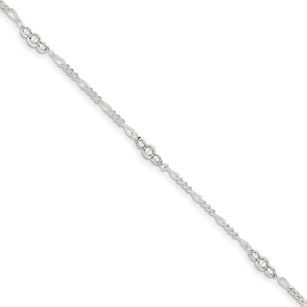 Sterling Silver Bead Figaro Chain Adjustable Anklet, 9 Inch, Item A8532 by The Black Bow Jewelry Co.