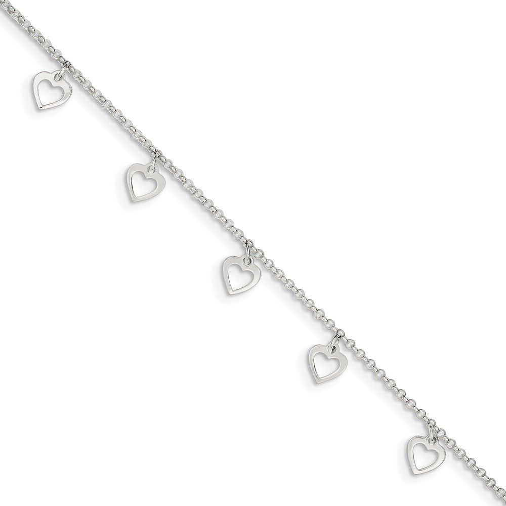 Sterling Silver Dangling Open Heart Charm Adjustable Anklet, 9 Inch, Item A8534 by The Black Bow Jewelry Co.