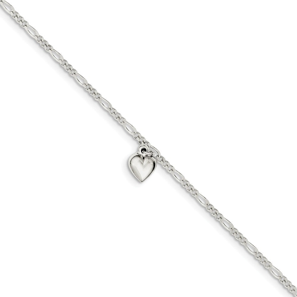 Sterling Silver Figaro Chain Dangling Heart Adjustable Anklet, 9 Inch, Item A8535 by The Black Bow Jewelry Co.