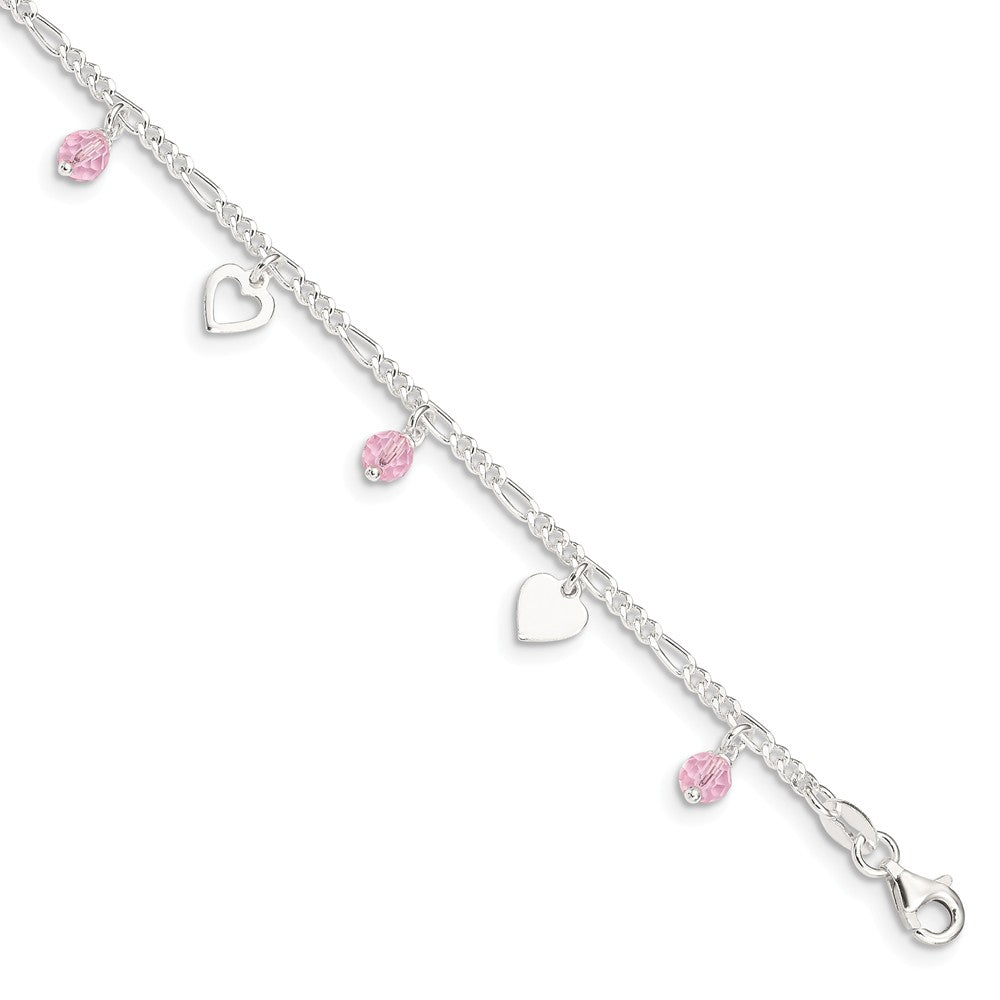 Sterling Silver Heart and Rose Glass Bead Adjustable Anklet, 9 Inch, Item A8538 by The Black Bow Jewelry Co.