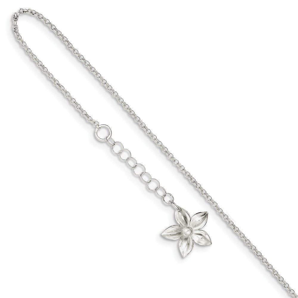 Sterling Silver Five Petal Flower Adj. Cable Chain Anklet, 9 in, Item A8543 by The Black Bow Jewelry Co.