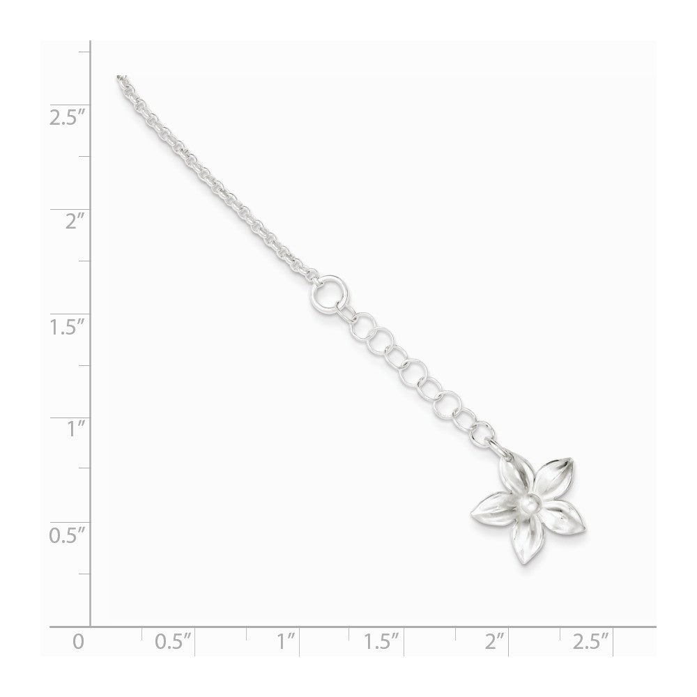 Alternate view of the Sterling Silver Five Petal Flower Adj. Cable Chain Anklet, 9 in by The Black Bow Jewelry Co.