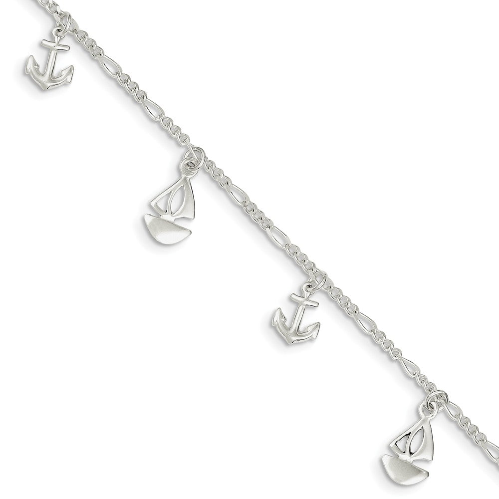 Sterling Silver Sailboat and Anchor Charm Adjustable Anklet, 9 Inch, Item A8545 by The Black Bow Jewelry Co.