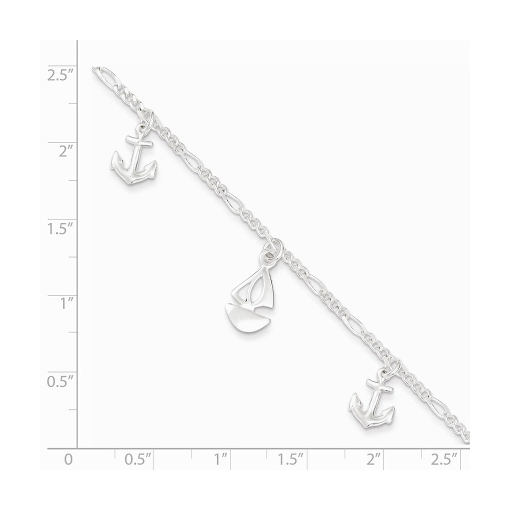 Alternate view of the Sterling Silver Sailboat and Anchor Charm Adjustable Anklet, 9 Inch by The Black Bow Jewelry Co.