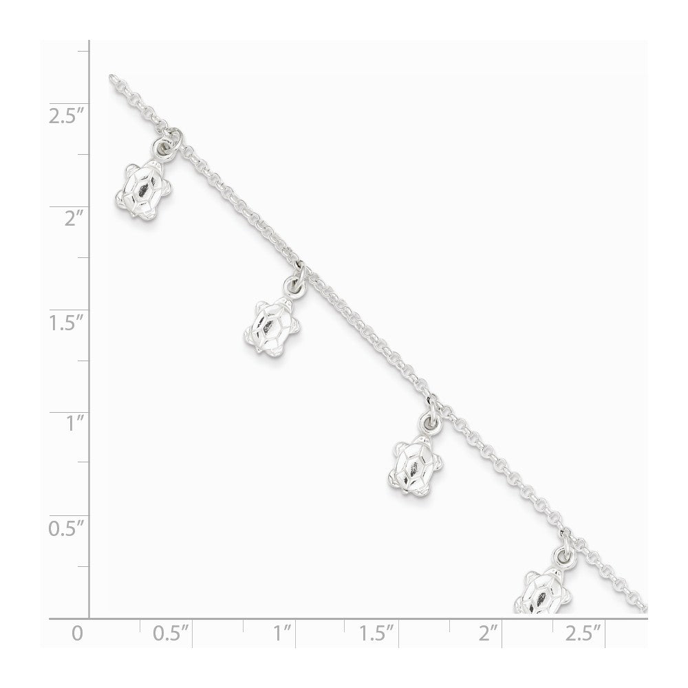 Alternate view of the Sterling Silver Dangling Sea Turtle Adjustable Anklet, 9 Inch by The Black Bow Jewelry Co.