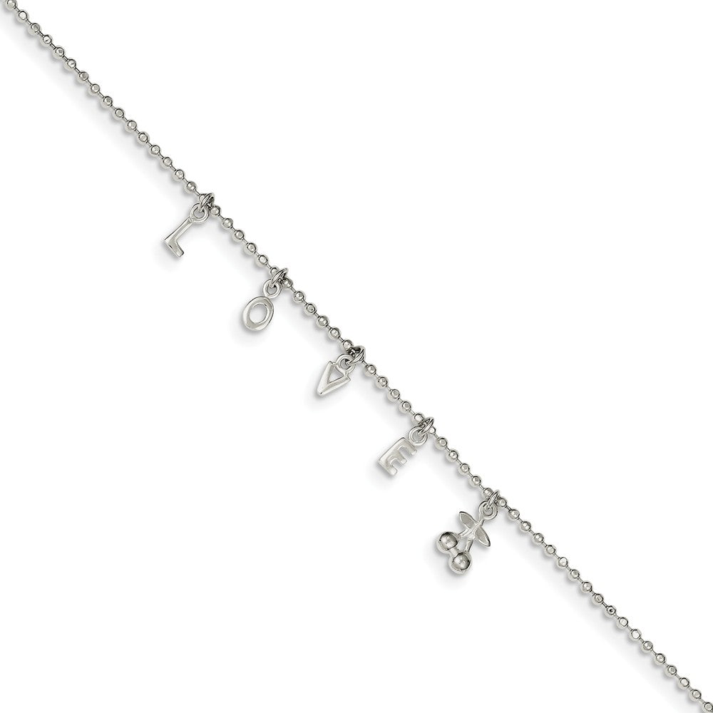 Sterling Silver 1.5mm Beaded LOVE Charm Anklet, 10-11 Inch, Item A8553 by The Black Bow Jewelry Co.