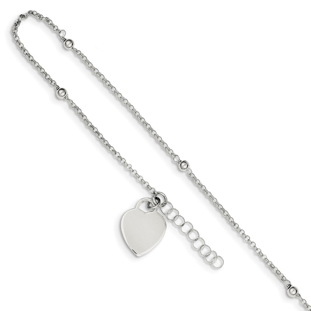 Sterling Silver Beaded Rolo Chain And Heart Charm Adj. Anklet, 9 Inch, Item A8556 by The Black Bow Jewelry Co.