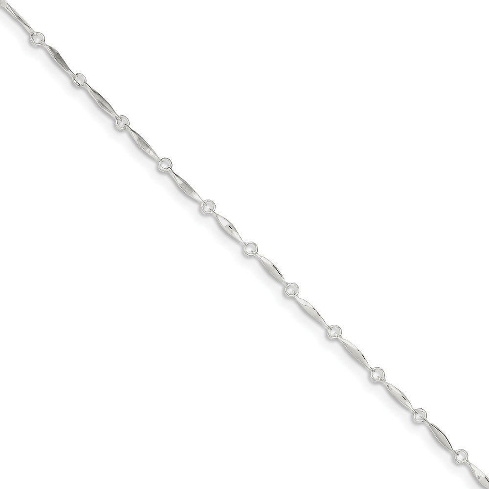 Sterling Silver Adjustable 2mm Polished Bar Link Anklet, 10 Inch, Item A8560 by The Black Bow Jewelry Co.
