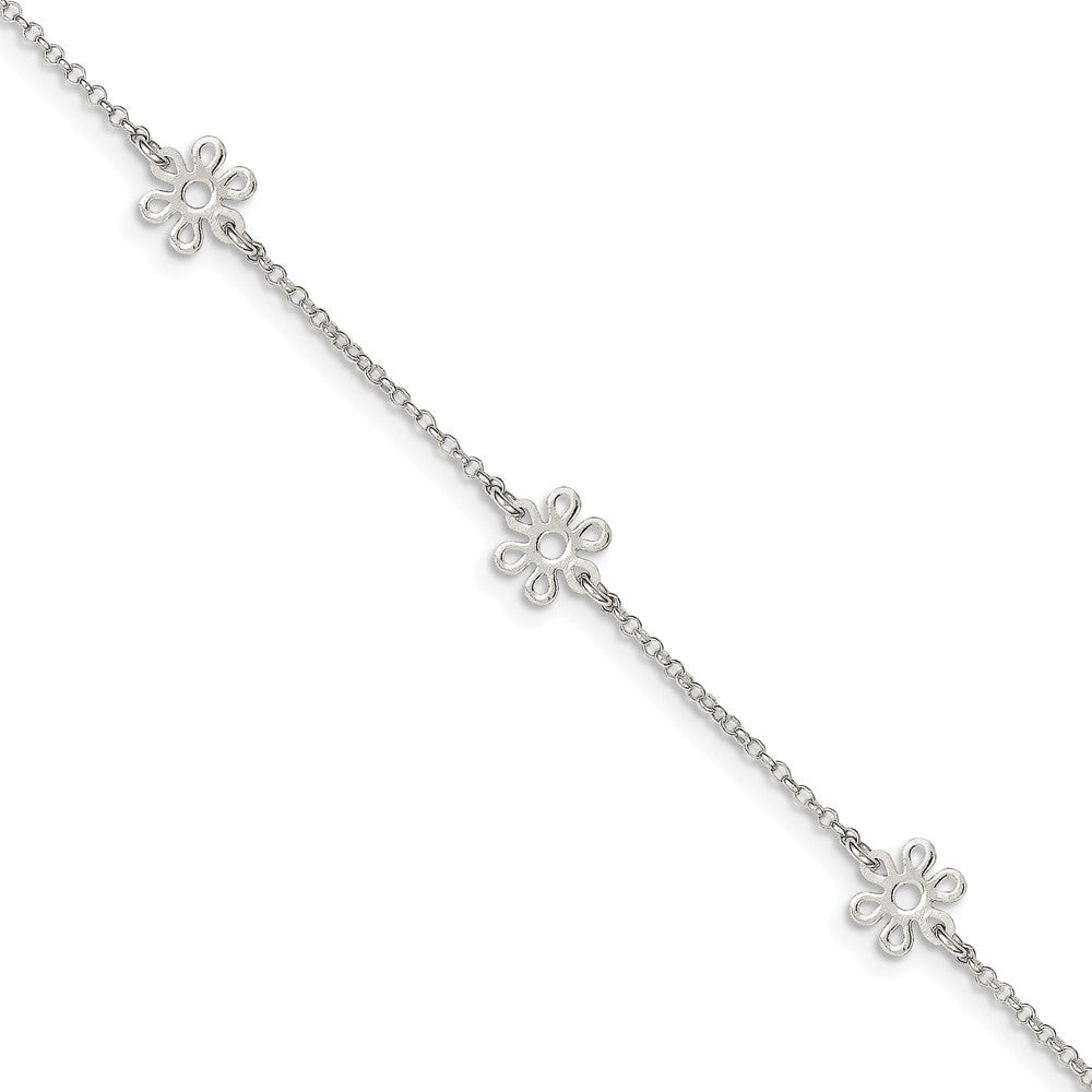 Sterling Silver Flower Station Cable Chain Adjustable Anklet, 9 Inch, Item A8562 by The Black Bow Jewelry Co.