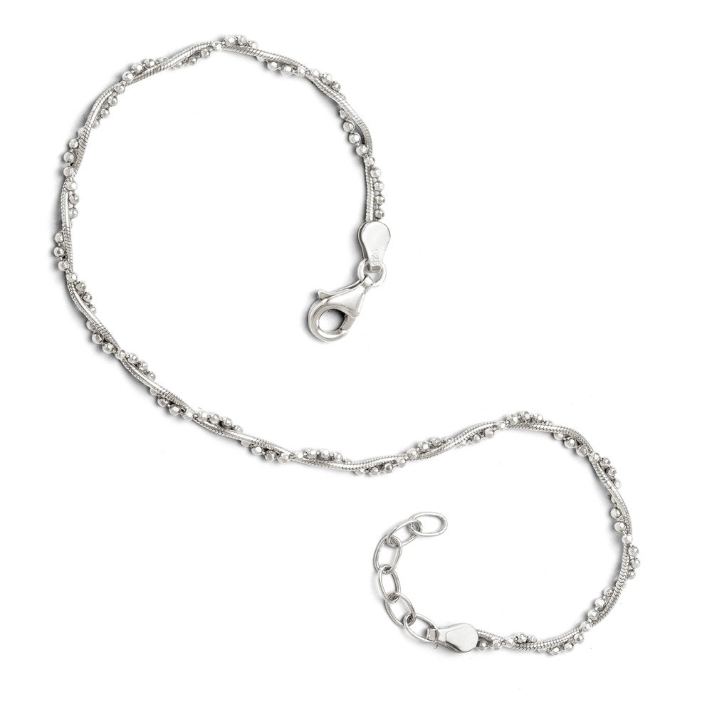 Sterling Silver Twisted Bead and Snake Chain Anklet, 9-10 Inch, Item A8578 by The Black Bow Jewelry Co.