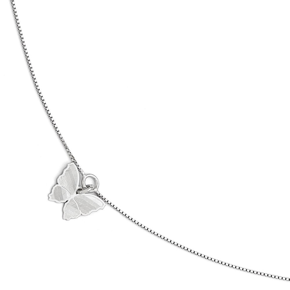 Sterling Silver Textured Butterfly and 1mm Box Chain Anklet, 9-10 Inch, Item A8583 by The Black Bow Jewelry Co.