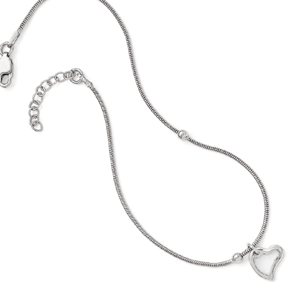 Sterling Silver Asymmetrical Heart and Snake Chain Anklet, 9-10 Inch, Item A8585 by The Black Bow Jewelry Co.