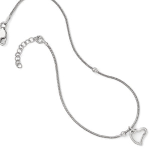 Sterling Silver Asymmetrical Heart and Snake Chain Anklet, 9-10 Inch - The Black Bow Jewelry Co.