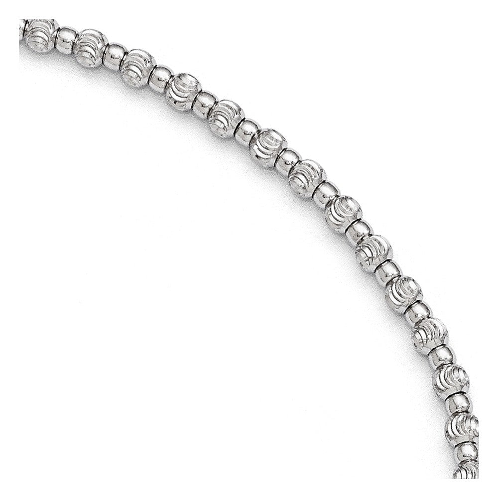 Sterling Silver 3mm Diamond-cut Beaded Anklet, 9-10 in, Item A8591 by The Black Bow Jewelry Co.