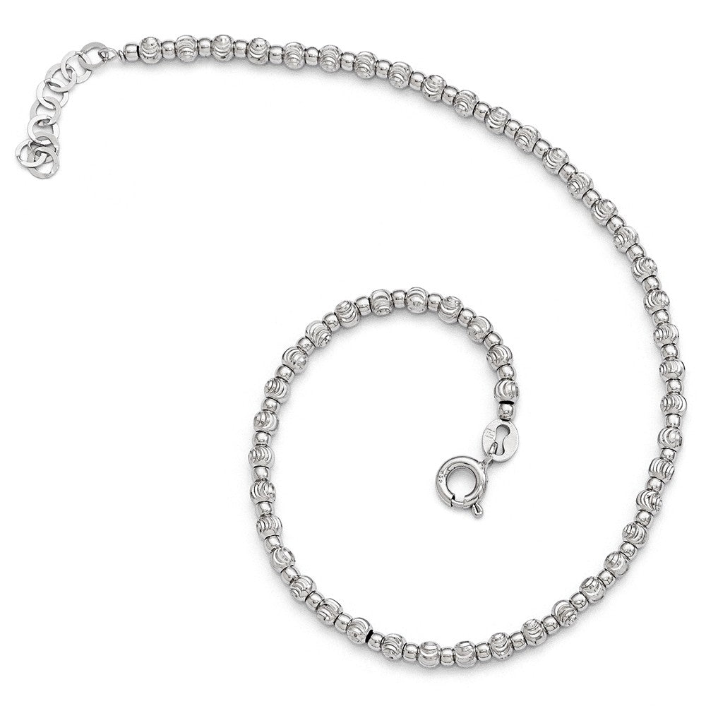Alternate view of the Sterling Silver 3mm Diamond-cut Beaded Anklet, 9-10 in by The Black Bow Jewelry Co.