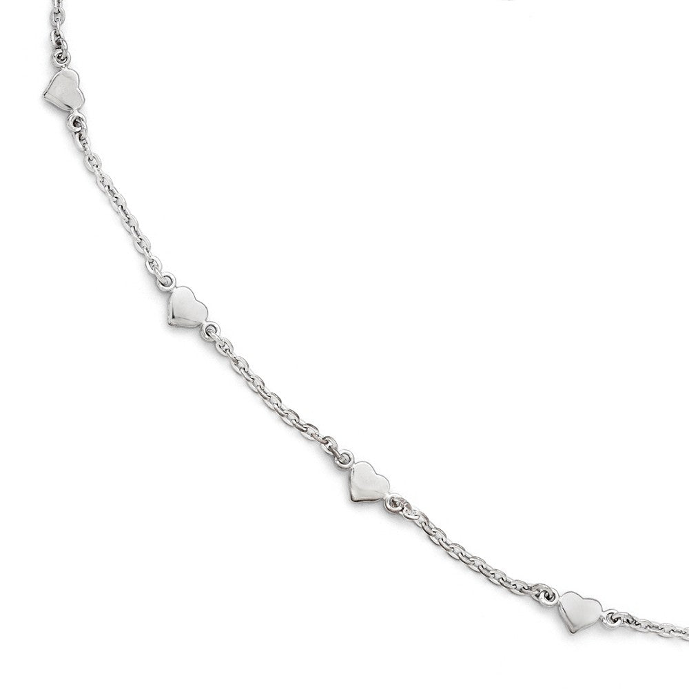 Sterling Silver Heart Station Cable Link Anklet, 9-10 Inch, Item A8593 by The Black Bow Jewelry Co.