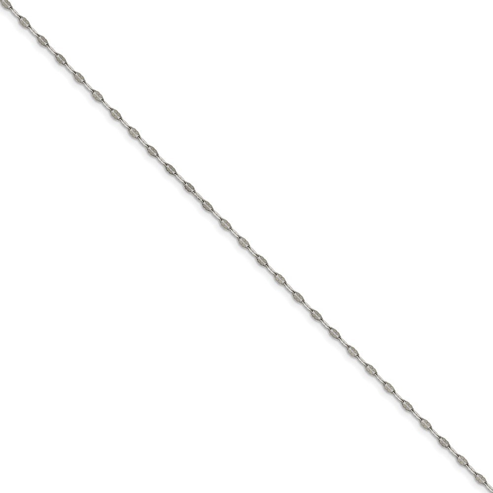 Stainless Steel 2.5mm Polished Fancy Cable Link Anklet, 9.5 Inch, Item A8597 by The Black Bow Jewelry Co.