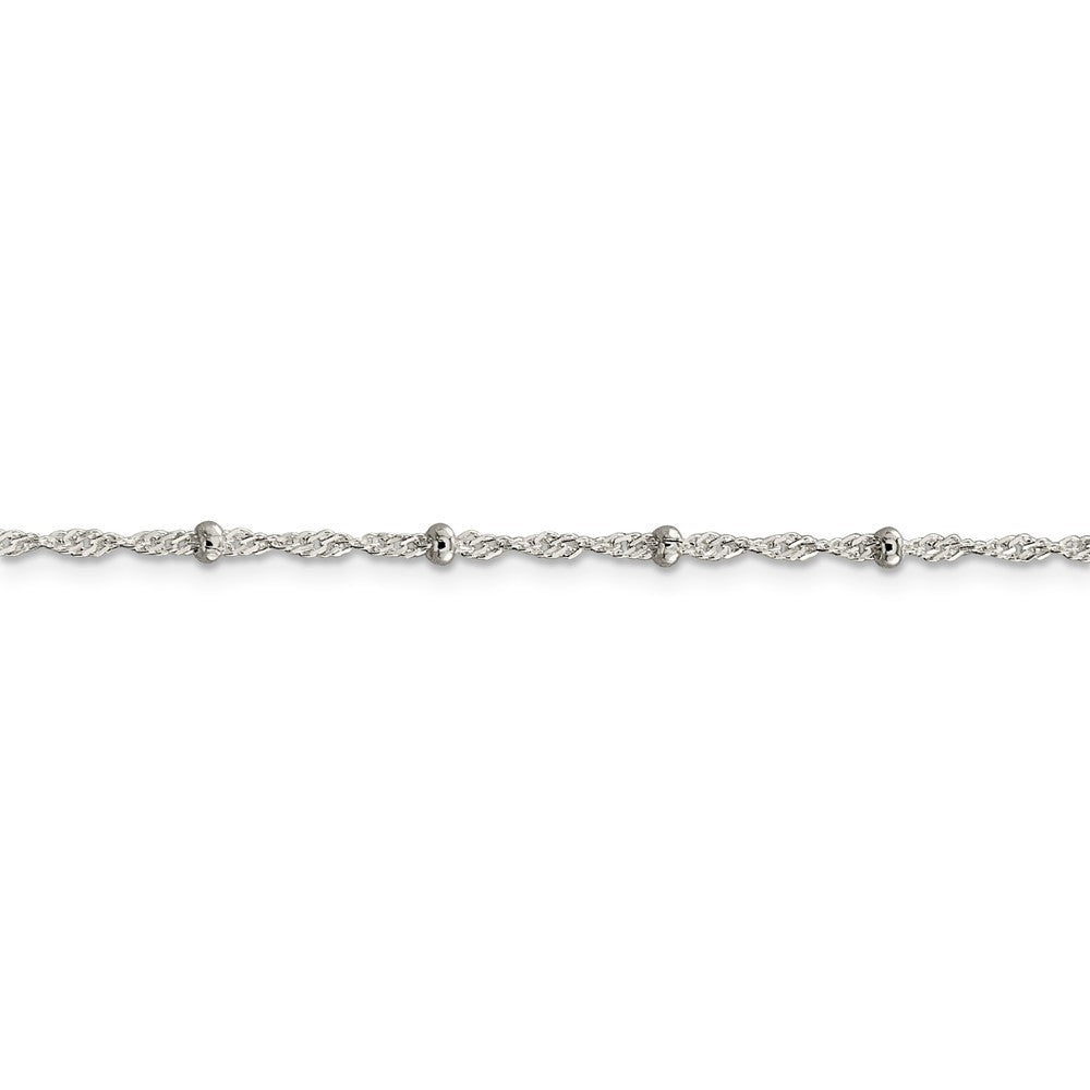 Alternate view of the Sterling Silver 2.5mm Beaded Loose Rope Chain Anklet by The Black Bow Jewelry Co.