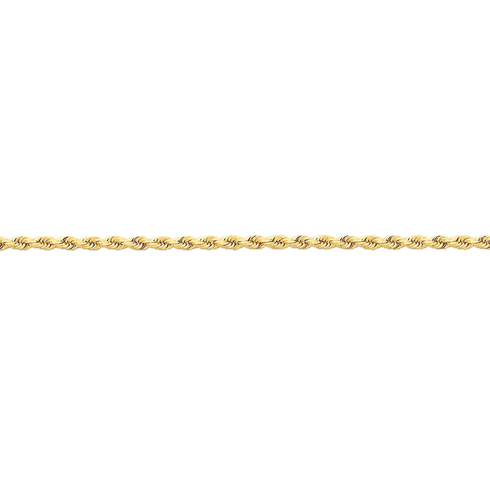 14k Yellow Gold 2.25mm Diamond Cut Solid Rope Chain Anklet - The Black Bow Jewelry Co.