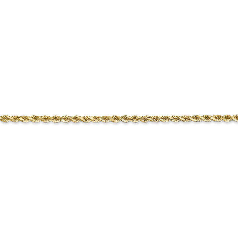 Alternate view of the 14k Yellow Gold, 2mm Diamond Cut Rope Chain Anklet by The Black Bow Jewelry Co.
