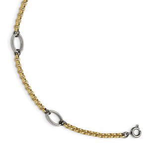 Alternate view of the Stainless Steel and Gold Tone Plated Oval Station Anklet, 9.5 Inch by The Black Bow Jewelry Co.
