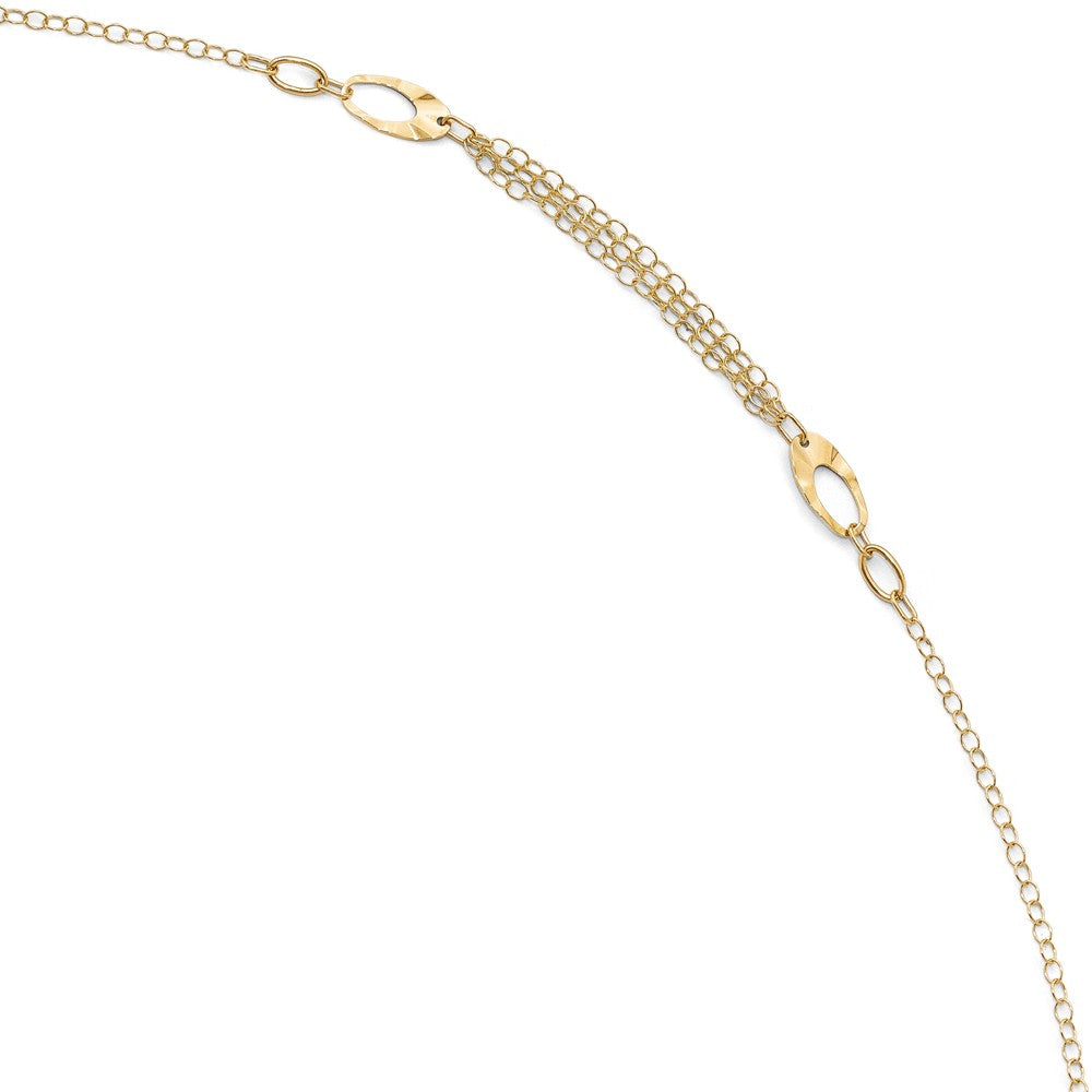 14k Yellow Gold Polished Oval Link Triple Strand Anklet, 10-11 Inch, Item A8645 by The Black Bow Jewelry Co.