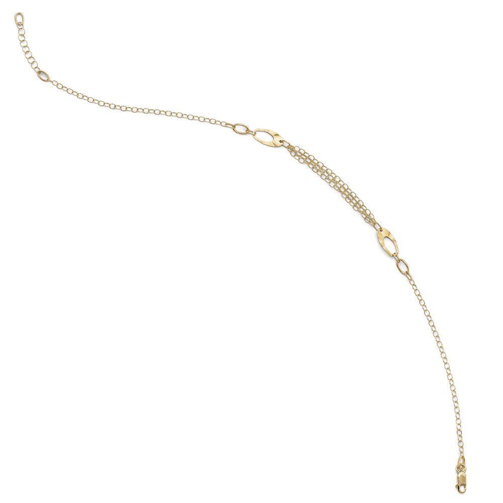 Alternate view of the 14k Yellow Gold Polished Oval Link Triple Strand Anklet, 10-11 Inch by The Black Bow Jewelry Co.