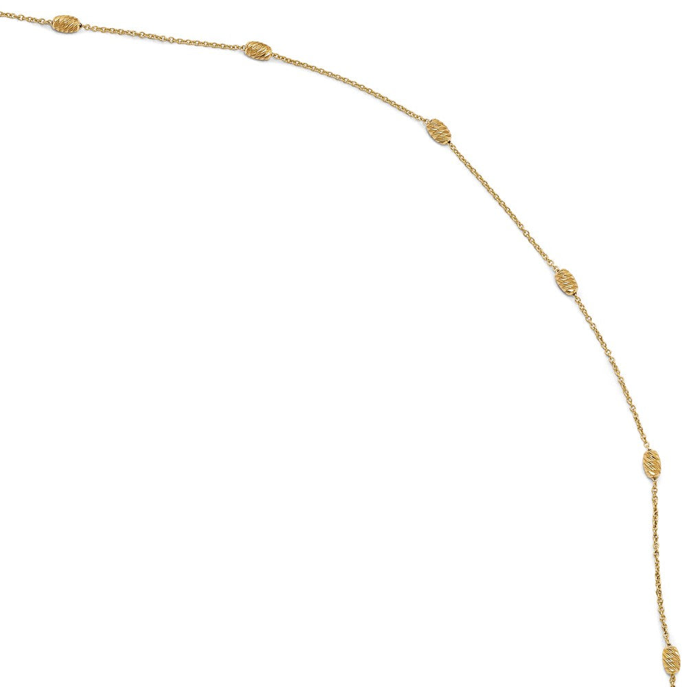 14k Yellow Gold Diamond-Cut Beaded Cable Chain Anklet, 10-11 Inch, Item A8646 by The Black Bow Jewelry Co.