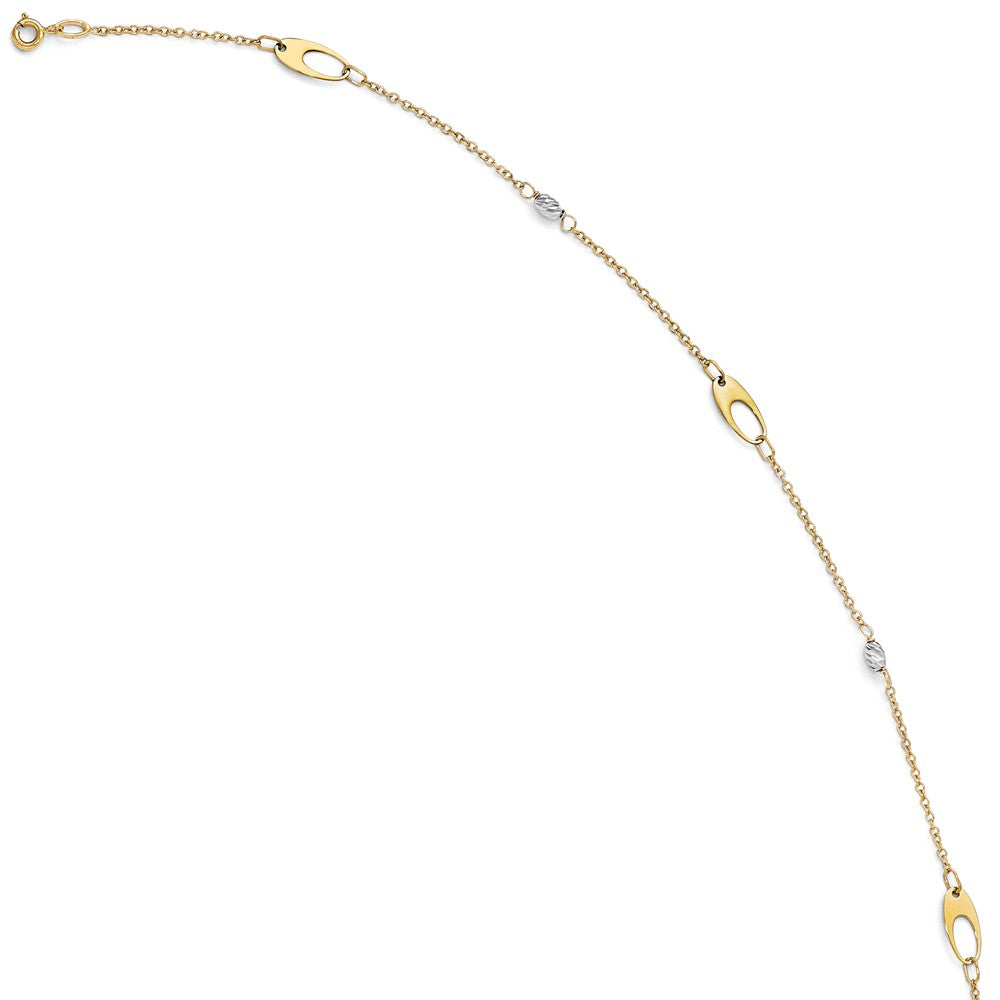 Alternate view of the 14k Two Tone Gold Polished Oval Diamond Cut Bead Anklet, 10-11 Inch by The Black Bow Jewelry Co.