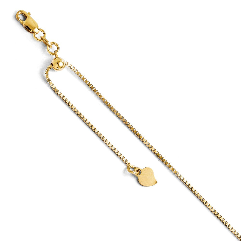 14k Yellow Gold 1mm Adjustable Box Chain Anklet, 11 Inch, Item A8657 by The Black Bow Jewelry Co.
