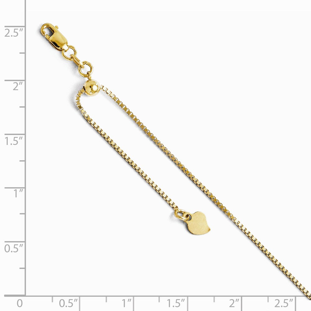 Alternate view of the 14k Yellow Gold 1mm Adjustable Box Chain Anklet, 11 Inch by The Black Bow Jewelry Co.