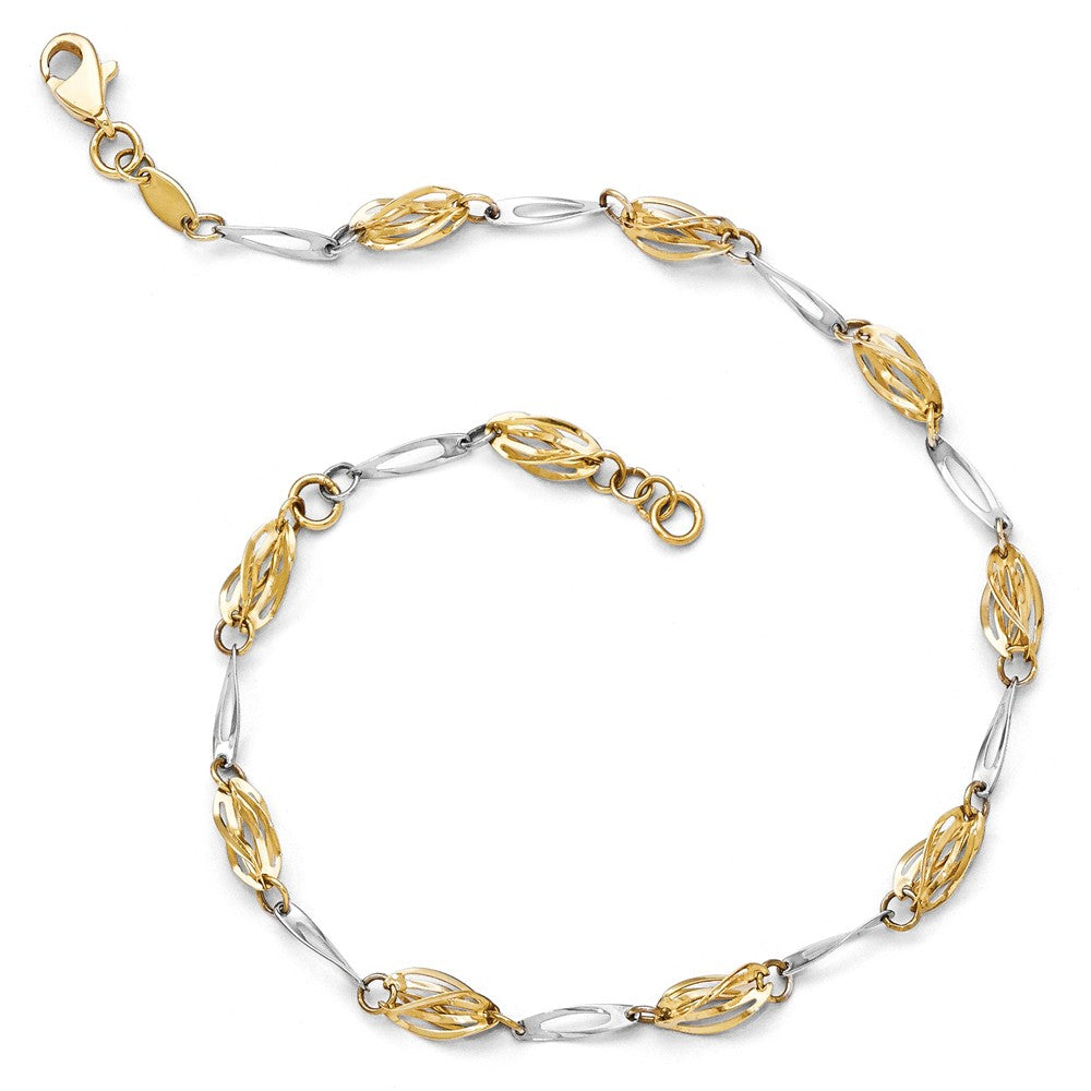 Alternate view of the 14k Two Tone Gold 5mm Polished Fancy Twisted Link Anklet, 10 Inch by The Black Bow Jewelry Co.