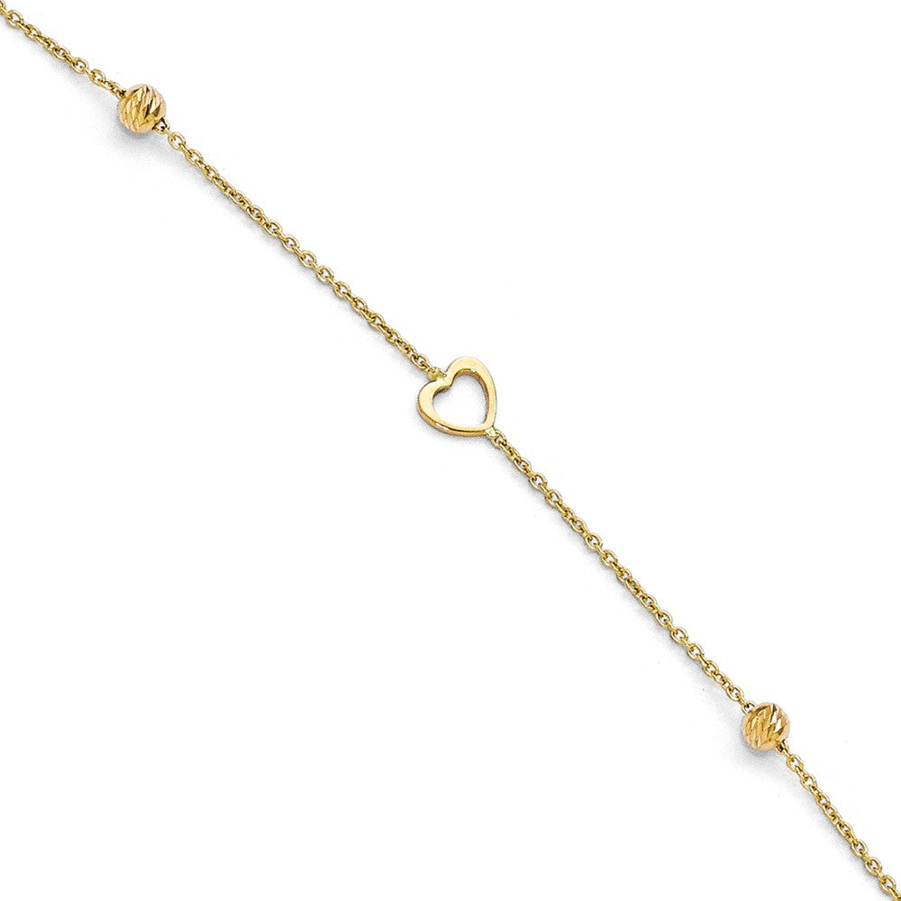 14k Yellow Gold Open Heart and Diamond-Cut Bead Anklet, 10-11 Inch, Item A8662 by The Black Bow Jewelry Co.